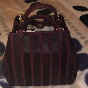 Mk plum Brooklyn medium satchel with hair